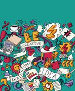 Creative doodles idea brainstorm color card Stock Illustration