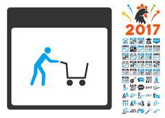 Shopping Cart Calendar Page Flat Vector Icon With Bonus Stock Illustration