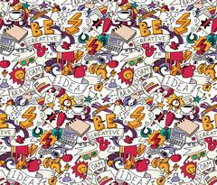 Creative doodles idea brainstorm color seamless pattern white Stock Illustration