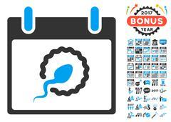 Sperm Insemination Calendar Page Flat Vector Icon With Bonus Stock Illustration