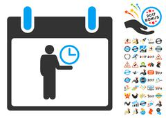 Time Manager Calendar Day Flat Vector Icon With Bonus Stock Illustration
