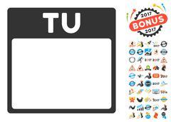 Tuesday Calendar Page Flat Vector Icon With Bonus Stock Illustration