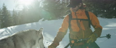 Skier petting husky in snow Stock Footage