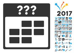 Unknown Month Calendar Grid Flat Vector Icon With Bonus Stock Illustration