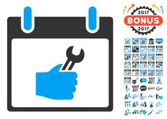 Wrench Service Hand Calendar Day Flat Vector Icon With Bonus Stock Illustration