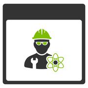Atomic Engineer Calendar Page Flat Icon Stock Illustration