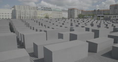 Above the Memorial to the Murdered Jews of Europe - Berlin, Germany - 4K Stock Footage