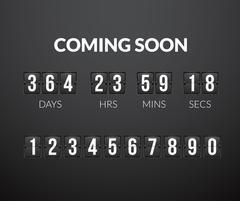 Coming Soon, flip countdown timer panel Stock Illustration