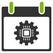 Chip Gear Calendar Day Flat Icon Stock Illustration