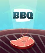 Barbecue BBQ Party invitation card, vector illustration poster background in  Stock Illustration