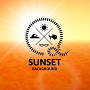 Yellow sunset with orange water sea surface Stock Illustration