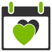 Hearts Calendar Day Flat Icon Stock Illustration