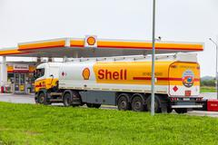 Shell Oil Truck at the gas station Shell Stock Photos
