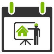 Realty Developer Calendar Day Flat Icon Stock Illustration