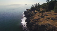 Aerial of Pacific Northwest Coast at Lime Kiln Park on San Juan Island Stock Footage