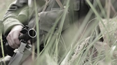 Soldier aiming with panzerfaust Stock Footage