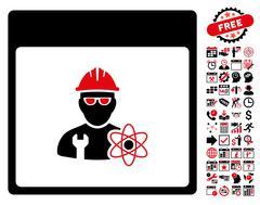 Atomic Engineer Calendar Page Flat Vector Icon With Bonus Stock Illustration