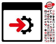 Cog Integration Calendar Page Flat Vector Icon With Bonus Stock Illustration