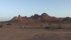 Sunrise over stony desert in the Hoggar Mountans Stock Footage