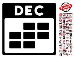 December Calendar Grid Flat Vector Icon With Bonus Stock Illustration