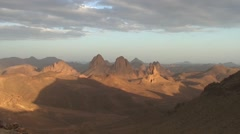 View over Hoggar Mountains in the late sunny afternoon Stock Footage