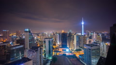 Night scene at Kuala Lumpur city skyline Stock Footage