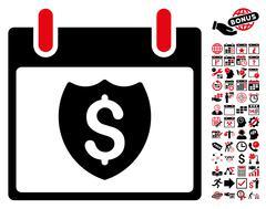 Financial Shield Calendar Day Flat Vector Icon With Bonus Stock Illustration