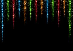 Glittering stars and trail of sparkling particles Stock Illustration
