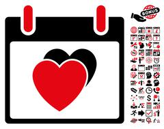 Hearts Calendar Day Flat Vector Icon With Bonus Stock Illustration