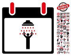 Man Shower Calendar Day Flat Vector Icon With Bonus Stock Illustration
