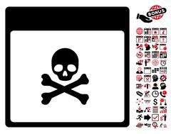 Poison Skull Calendar Page Flat Vector Icon With Bonus Stock Illustration