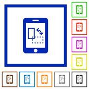 Mobile gyrosensor framed flat icons Stock Illustration