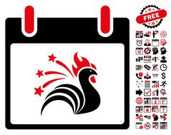 Sparkle Rooster Calendar Day Flat Vector Icon With Bonus Stock Illustration