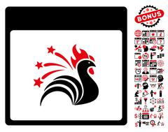 Sparkle Rooster Calendar Page Flat Vector Icon With Bonus Stock Illustration