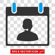 Call Center Manager Calendar Day Eps Vector Icon Stock Illustration