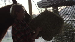 Female rancher feeding a horse with hay Stock Footage
