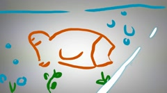 Fish  - Hand drawn - Animation - outline - White Background Stock Footage