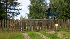 House in tourist complex is in village of Upper Mandrogi in Russia Stock Footage