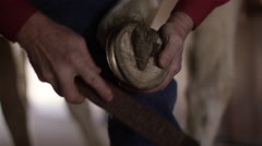 Rancher shaping a horse hoof Stock Footage