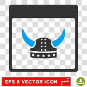 Horned Ancient Helmet Calendar Page Eps Vector Icon Stock Illustration