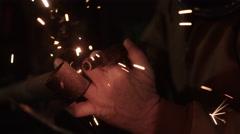 Welder welding a metal Stock Footage