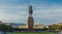 Monument of the Croatian King Tomislav timelapse hyperlapse and art pavilion in Stock Footage