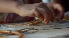 Children's hands sculpts clay crafts pottery school Stock Footage