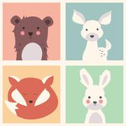 Collection of cute forest and polar animals with baby cubs, including bear, f Stock Illustration