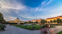 Panoramic timelapse view of Art pavilion at King Tomislav square in Zagreb Stock Footage