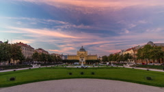 Panoramic day to night timelapse view of Art pavilion at King Tomislav square in Stock Footage