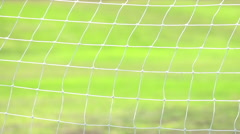 Soccer goal net moving in the breeze, super slow motion. Stock Footage