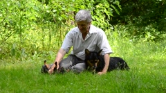 Older man sitting on grass and playing with dogs Stock Footage