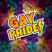 Gay pride text abstract colorful triangle geometrical background Stock Illustration