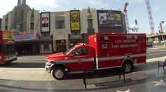 Los Angeles Fire Department Vehicle departs from Stock Footage
